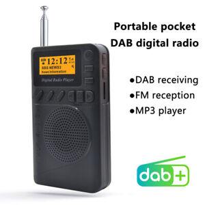 Portable Black Pocket Digital DAB/ DAB+ FM Radio Speaker MP3 Play Rechargable