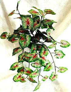 Caladium BiColor Pink Hanging Plant Tropical Artificial Houseplant Variegated