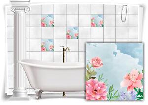 Fliesen-Aufkleber Fliesen-Bild Blumen Blätter Nostalgie Floral Rosa Blau Bunt WC