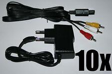 10 x Netzteil + TV AV Kabel Super Nintendo SNES Stromkabel Fernsehkabel Chinch