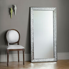 Bronte Large Mosaic All Glass Frame Silver Full Length leaner Wall Mirror 63x31""