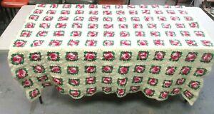 """Vtg Flower Square AFGHAN Blanket Throw Crochet 3D Rose Wool Handmade 64"""" X 62"""""""