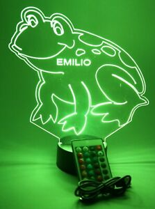 Frog Night Light Up Table Lamp LED Personalized Custom Leaping Toad With Remote