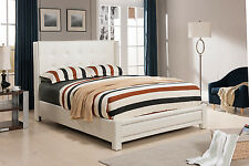 Ivory Tufted Design Leather Look King Size Upholstered Platform Bed ~New~