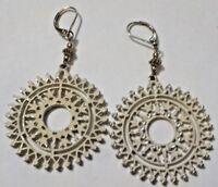 Vintage Clear Rhinestones & Cream Paint On Metal Dangling Pierced Earrings