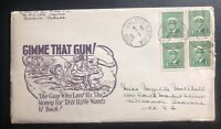 1945 Aylmer Canada Patriotic cover to Winamac IN USA Gimme That Gun