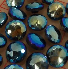 "36 vintage faceted Czech pressed glass shank buttons blue jet AB 1/2"" 13mm #379"