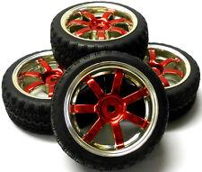 A250120 1/10 En Carretera Suave carretera pisada Coche Ruedas y neumáticos 6 radios Rojo X 4