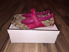 COACH Caryl Signature Women Magenta Khaki Logo Ballet Flats Shoes Size 6.5