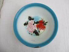 Ancien 1930/50 basin cuvette de toilette tôle émaillé à décors de roses