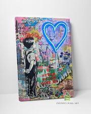 BLUE LOVE HEART BOY Graffiti Canvas Art Banksy Wall Art Print Picture Decor-D311