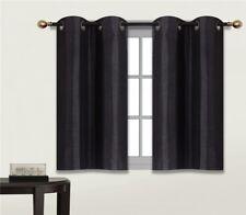 1 SET THERMAL LINED BLACKOUT GROMMET PANEL WINDOW CURTAIN DRAPE D24 BLACK