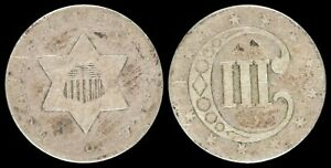1852 Silver Trime US Three Cents Type Coin Longacre Obsolete Mint Old US Type 1