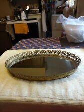 Vintage Dresser Mirror tray With 1.25 Inch Gold Lace Design Around The Mirror
