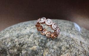 14K Rose Gold Over Wedding Eternity Band 1.50 Ct Round Cut Diamond Romantic Gift