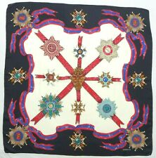"""Charter Club Black Medals/Ribbons Rolled Hem 35"""" 100% Silk Scarf Made in Japan"""