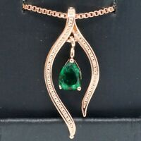 Vintage Pear Green Emerald Necklace Women Birthday Jewelry 14K Rose Gold Plated