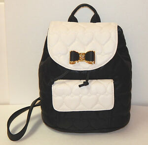 BETSEY JOHNSON BE MINE BLACK/BONE QUILTED  FLAP BOW BACKPACK AUTHENTIC NEW