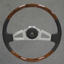 New VIP25 18 inch Chrome and Leather and Wood Freightliner  Steering Wheel