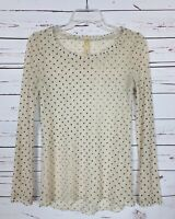 Mystree Anthropologie Women's S Small Black Lace Polka Dot Spring Top Blouse