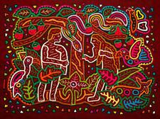 Mola Reverse Applique Adam and Eve Panama Fair Trade Crossroads Kuna Handmade