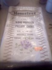 "vintage homestead  42""x36"" handprinted pillow cases purple roses"