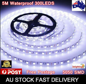 5m LED Strip Lights 12V Waterproof 5050 SMD Cool White 300 LEDs 60led/m Daylight