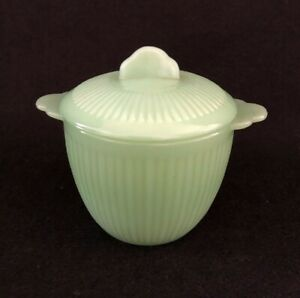 Vintage Green Fire King Jadite Jane Ray Sugar Bowl with Lid