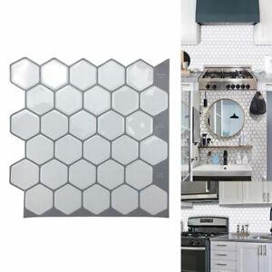 Hexagon Vinyl Mosaic Tiles Wall Sticker Wallpaper Self Adhesive Bathroom Kitchen