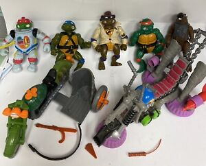 Vtg TMNT Ninja Turtles Lot Figures Vehicles Weapon 1989 1990 Psycho Turtle cycle