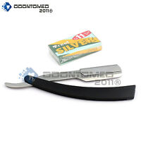 Black Straight Barber Edge Razor Folding Shaving Knife 11 Carbon Steel Blades