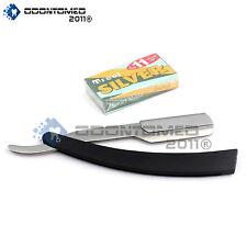 Black Straight Barber Edge Razor Folding Shaving Knife 11 Carbon Steel Blades