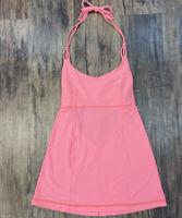 Lululemon 6 Small Peach pink Halter Tank Top Open Back Tie Neck Athletic
