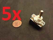 """5 Piece On/Off 2 Way SPST Metal Handle Toggle Switch AC 125v 4A dc 1/2"""" hole c15"""