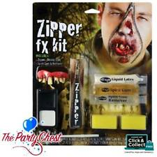 ZOMBIE ZIPPER FACE HALLOWEEN HORROR MAKEUP KIT Scary Zip Bloody Special FX 5609Z