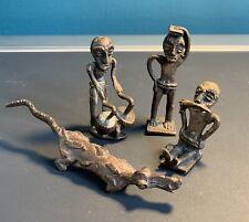 Ashanti Akan Bronze Gold Weights Ghana West African Crocodile & 3 Figures