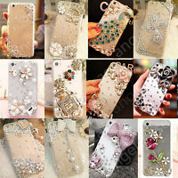 3D Handmade Cute Bling Rhinestone Diamond Clear Case Cover for Mobile Phones