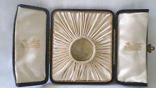 Vintage Dorada Caja/Estuche De Cuero/Reloj Bolsillo para pantalla/Medallón Fattorini & Sons