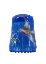 Fingerhut de azul vaso de cristal estampado pájaro decoración-ae 643