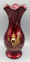 VINTAGE JAPANESE HAND PAINTED TEMPLE SEA OCEAN RED GOLD GLAZED POTTERY VASE