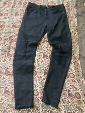 Mens Boohoo Black Biker Style Distressed Jeans, Waist 34