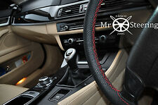 FOR BMW 5 E60 E61 03+ PERFORATED LEATHER STEERING WHEEL COVER RED DOUBLE STITCH