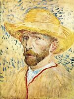 VINCENT VAN GOGH SELF PORTAIT WITH STRAW HAT OLD ART PAINTING PRINT 2907OMA