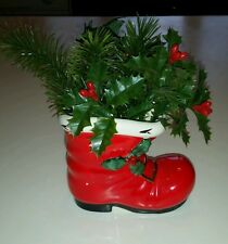 Vintage Christmas LEFTON Santa Boot Planter with Holly sprig  Made Japan XHH2306