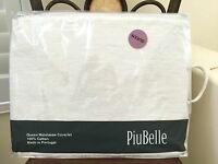 New PiuBelle Luxury Portugal QUEEN MATELASSE COVERLET 100%Cotton IVORY WHITE NIP