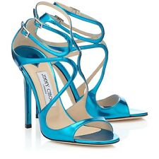 JIMMY CHOO 'lance' Metallic Robot Blue sandals Heels Strappy Size UK 4 Eu 37 New