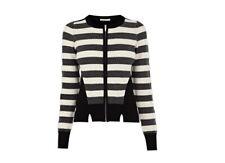 Karen Millen Clean Bubble Stitch Zip Front Knitted Jacket Biker UK 10 38 New