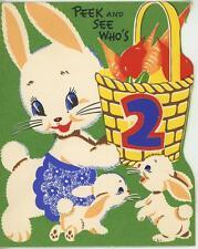 VINTAGE BLUE EYES WHITE BUNNY RABBIT BABIES CARROTS RADISHES 2 YEARS CARD PRINT