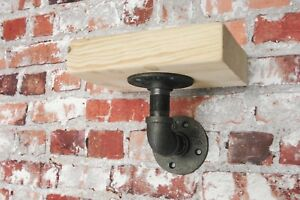 Single Small Wooden Shelf Made From Industrial Pipe Fittings Vintage Look