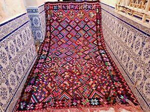 "Vintage Moroccan Rug Handmade Rug Old Kilim Wool Rug Tribal Azilal 12'4"" x 7'5"""